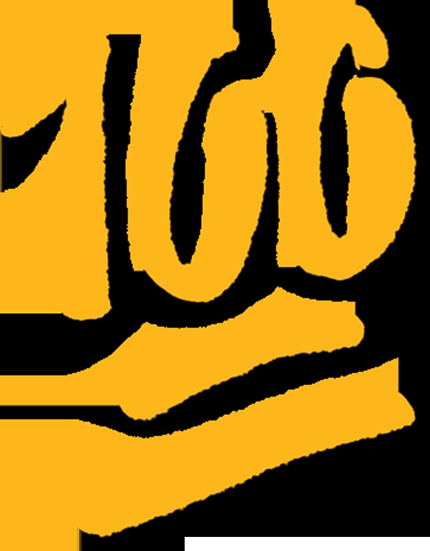 A hand drawn sticker of a gold 100% emoji