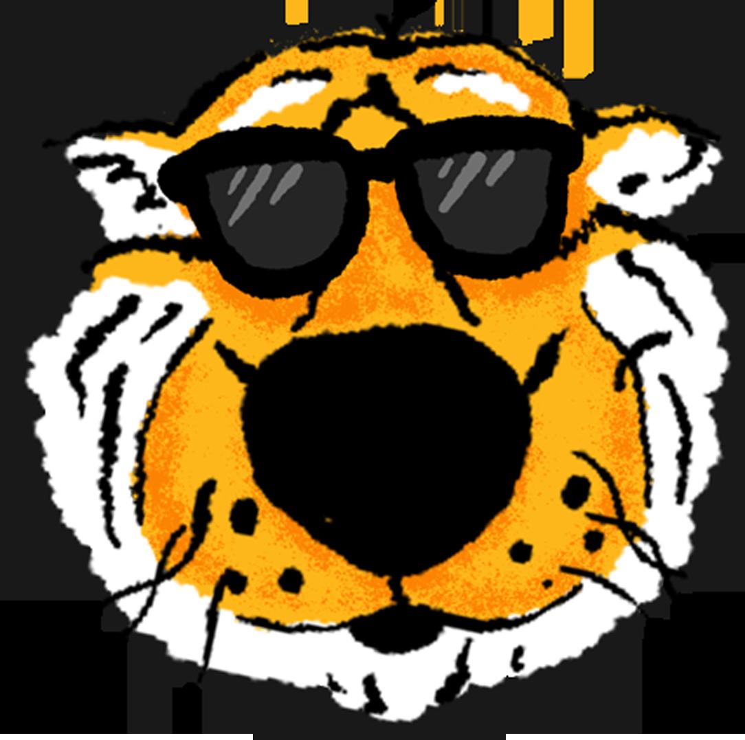 A hand drawn sticker of Truman Tiger wearing sunglasses emoji