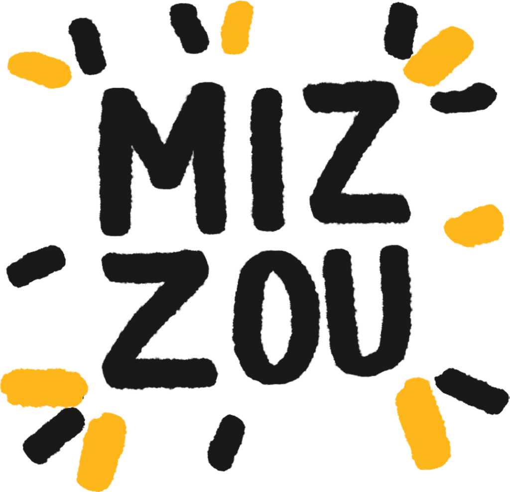 A hand drawn MIZ-ZOU with black and gold dashes around it