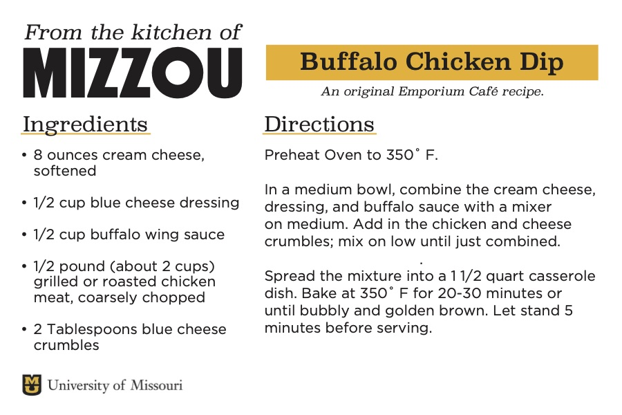 A screenshot of a recipe card for buffalo chicken. The downloadable PDF is screen reader compatible.