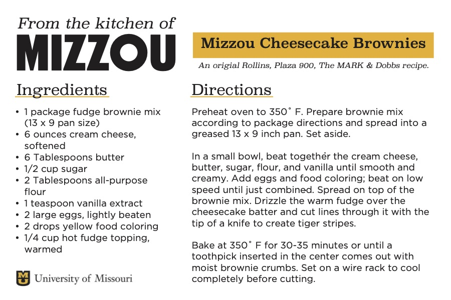 A screenshot of a recipe card for Mizzou Cheesecake Brownies. The downloadable PDF is screen reader compatible.