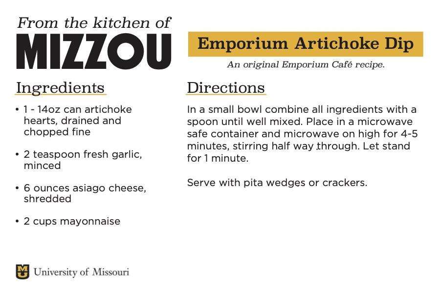 A screenshot of a recipe card for Emporium Artichoke Dip. The downloadable PDF is screen reader compatible.