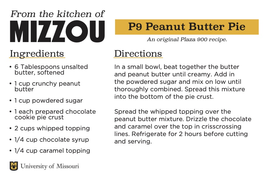A screenshot of a recipe card for P9 Peanut-Butter Pie. The downloadable PDF is screen reader compatible.