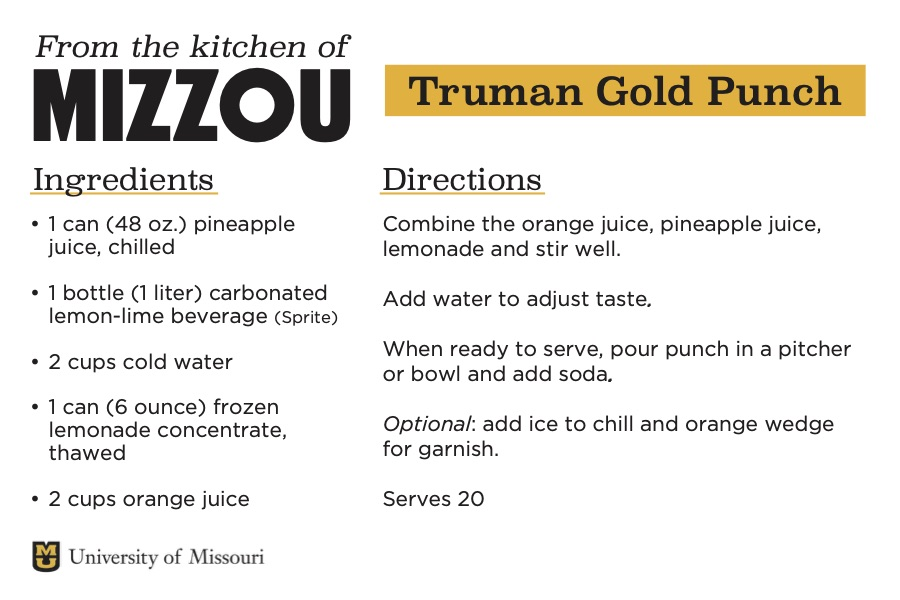 A screenshot of a recipe card for Truman Gold Punch. The downloadable PDF is screen reader compatible.