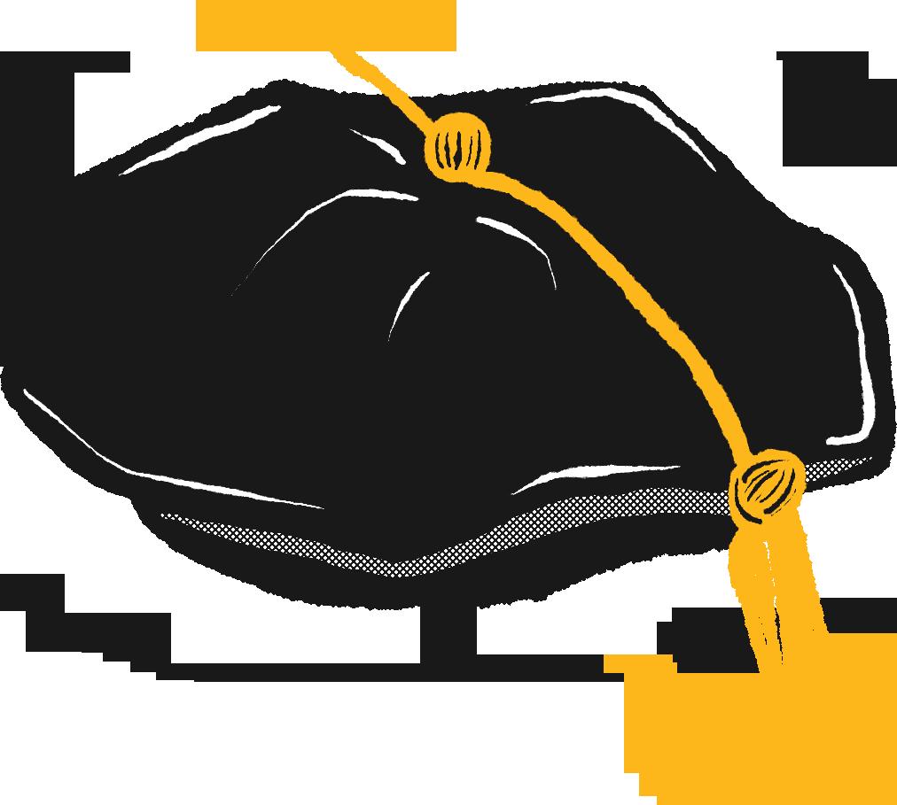 A hand drawn black graduation tam with a gold tassle