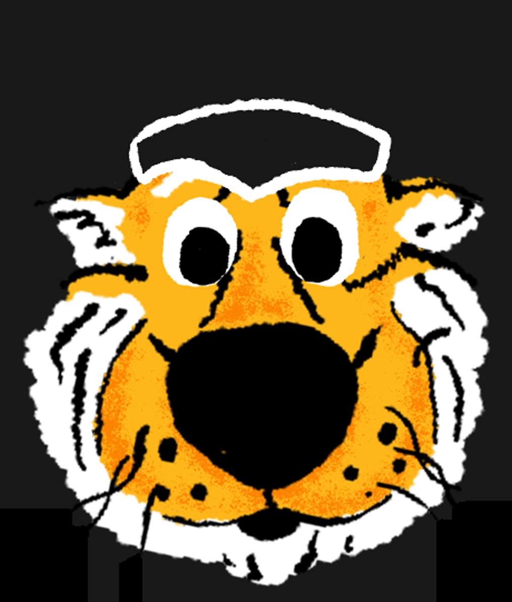 A hand drawn sticker of Truman Tiger's wearing a graduation cap emoji