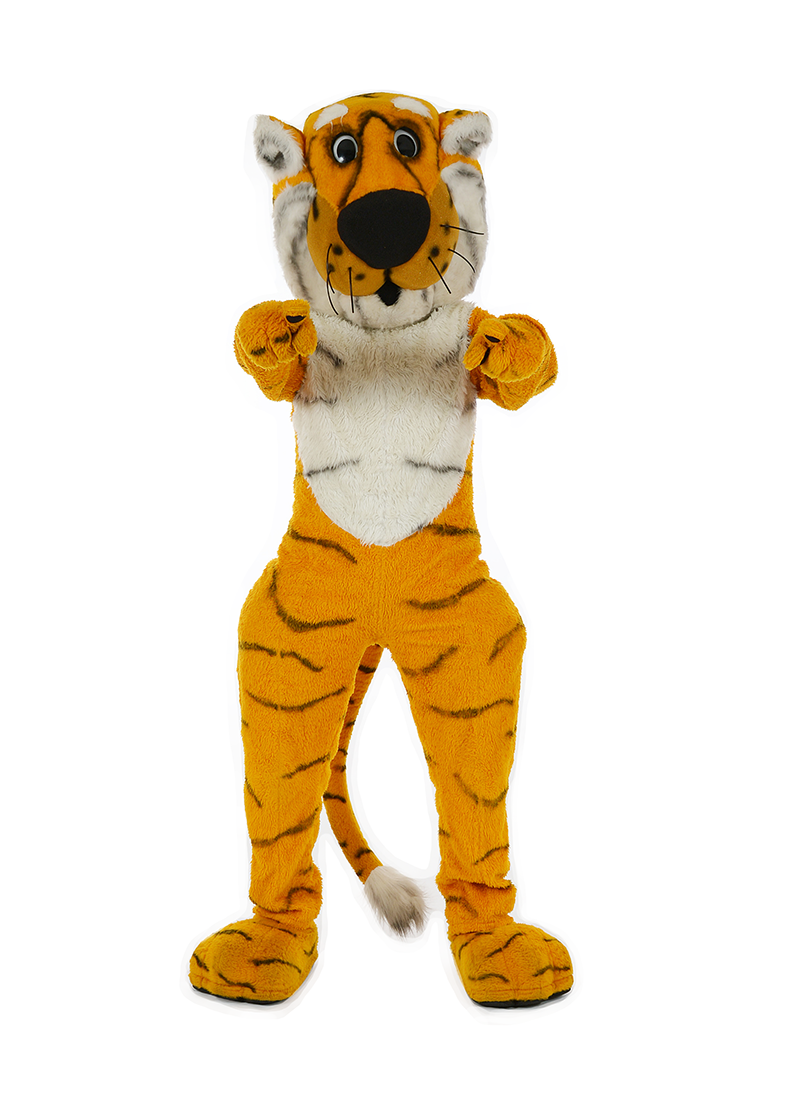Truman the Tiger points at you with both paws