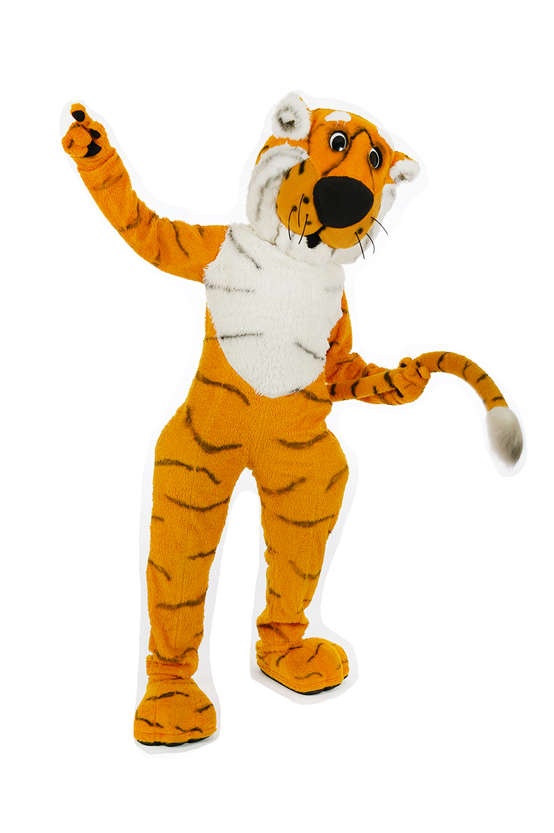 Truman the Tiger holds one arm up in the air and holds onto his tail with the other
