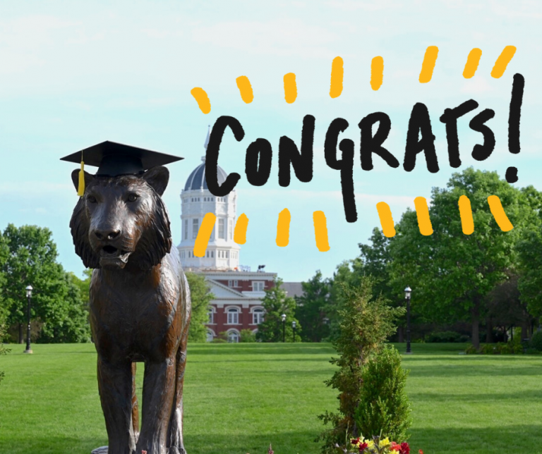 Image of Tiger Plaza statue with a mortar board on and 'Congrats' written over the image