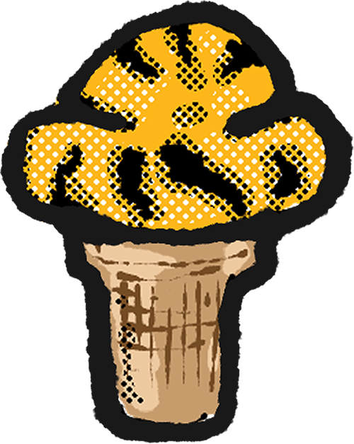 A hand drawn image of gold ice cream with black stripes in an ice cream cone sticker