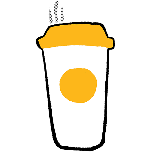 A hand drawn sticker of a cup of coffee with a gold lid and a gold circle sticker