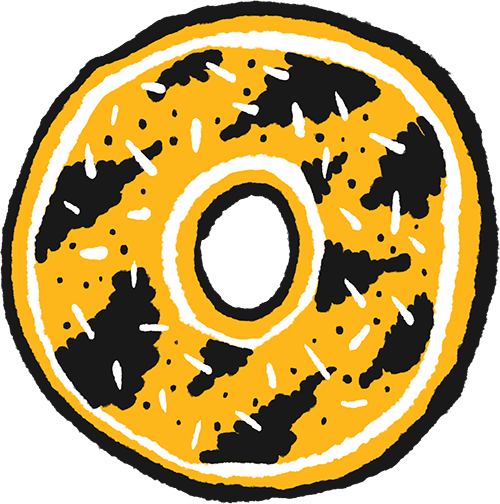 A hand drawn sticker of a donut decorated with gold and black stripes with white sprinkles