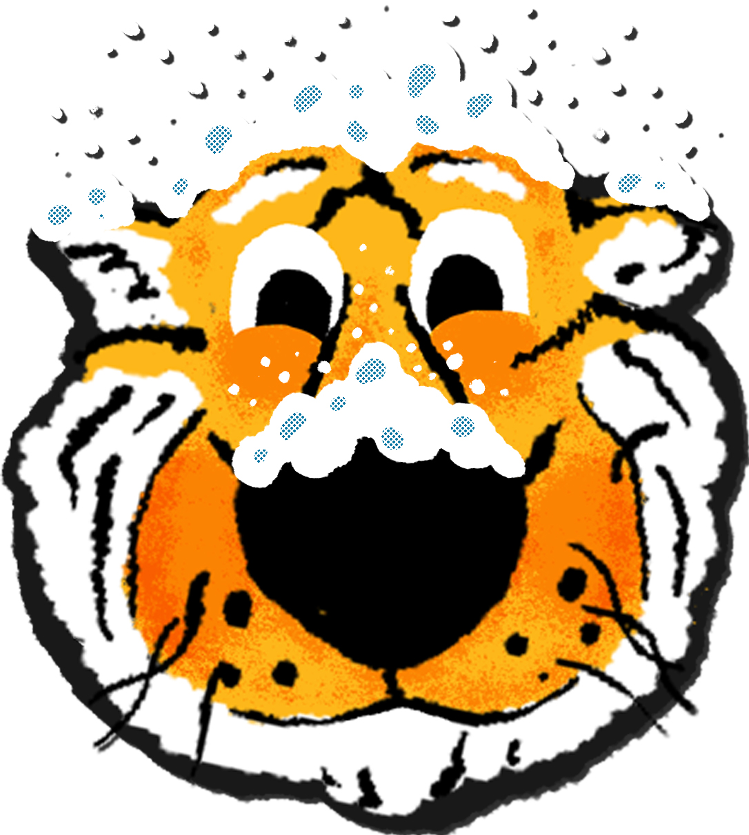 A hand drawn sticker of Truman Tiger emoji with snow on his nose and coming down from the sky