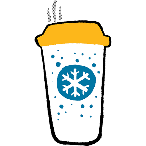 A hand drawn sticker of a cup of coffee with a gold lid and a blue snowflake circle sticker