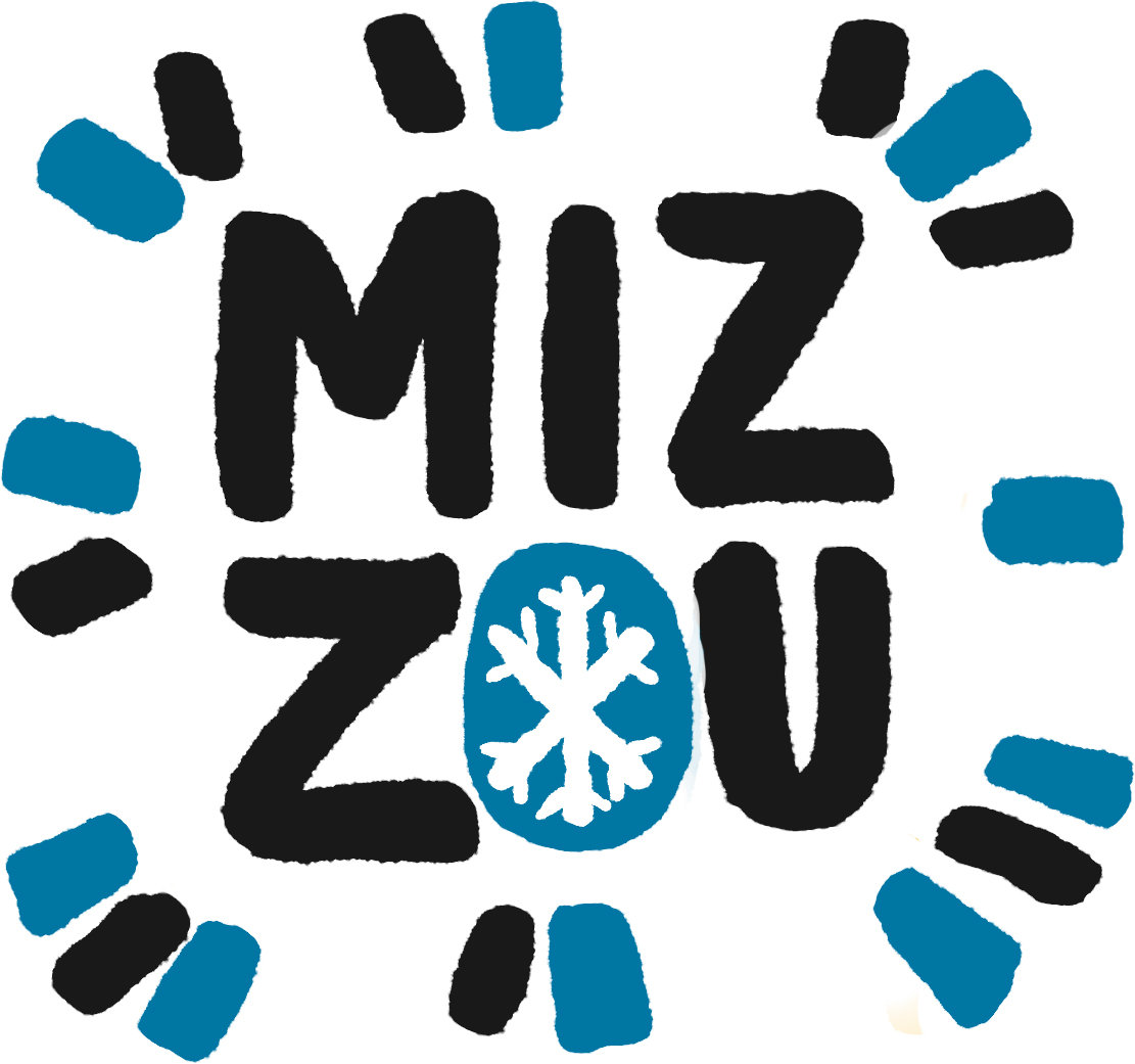 A hand drawn MIZ-ZOU with black and blue dashes around it and a snowflake in the